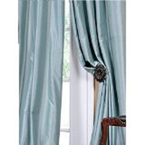 Blackpeel 4 Pc 108″ Long Light Blue Grommet Faux Silk Panels Window Curtain