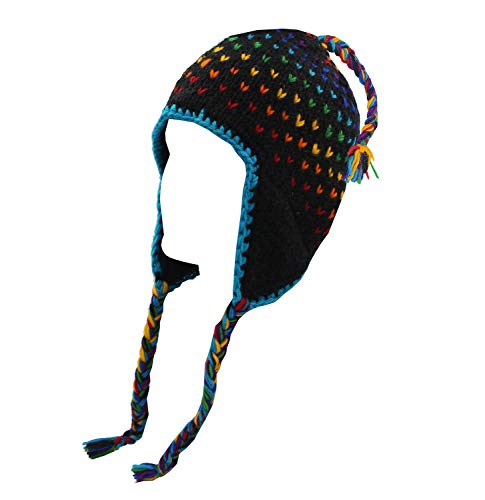 KayJayStyles Nepal Hand Knit Beanie Skull Ski Wool Fleeced Hat ()