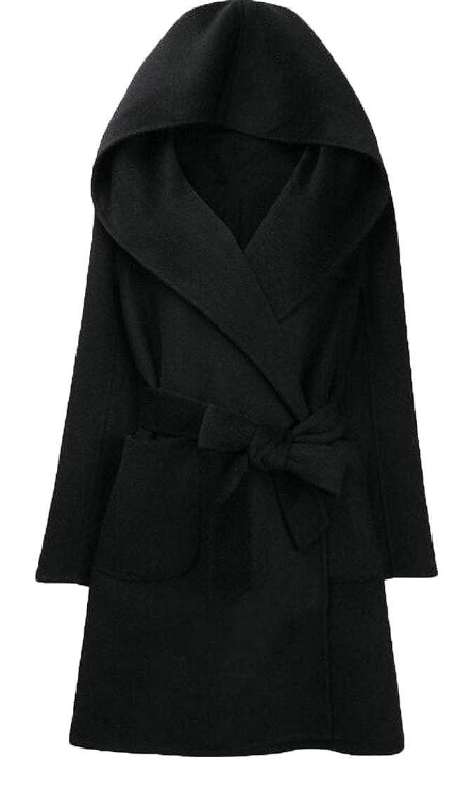 LKCEN-CA Womens Long Sleeve Solid Color Hooded Long Jacket Woolen Coat with Belt