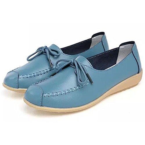 Damen Spitze Mokassin Bootsschuhe Casual Leder Loafers Schuhe Flache Fahren Halbschuhe Arbeitsschuhe Blau