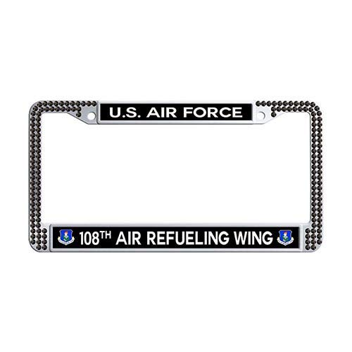 - Framespolish US Air Force 108th Air Refueling Wing Auto License Cover Holder Black Rhinestones Car License Plate Frame Holder