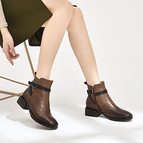 Dimensione Dimensione Colore Marrone Zipper Block Casual Donna Comfort Comfort Comfort Buckle EU Leather Shoes Fuxitoggo Marrone Stivali 37 wZPvzxq