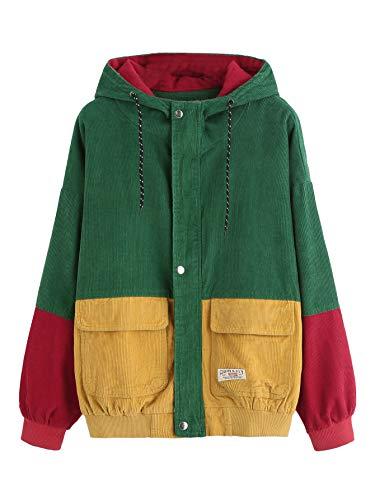 ROMWE Women's Cute Corduroy Color Block Single Breasted Patchwork Long Sleeve Oversized Hooded Jacket Windbreaker Coat Multicolor M ()