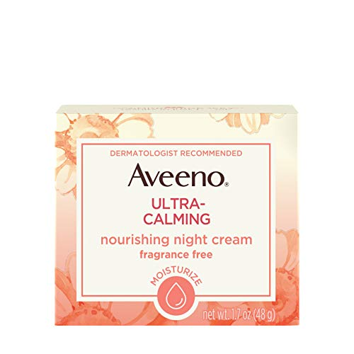 Aveeno Ultra-Calming Nourishing Night Cream for Sensitive Skin with Calming Feverfew Nourishing Oat, Non-Comedogenic, Oil-Free Hypoallergenic, 1.7 oz Pack of 3