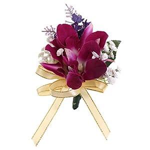 BROSCO Bridesmaid Bridal Corsage Ribbon Bowknot Orchid Flower Brooch Pin Wedding Supply | Design - Style 3 104