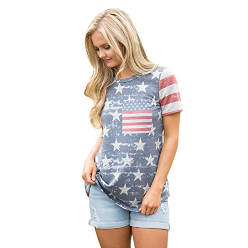 YANG-YI Womens Fashion Print American Flag Sexy Short Sleeve Tops T-Shirt (S, (Blue White Check Shirt)
