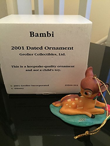 Grolier Christmas Ornament Disney Porcelain Bambi Dated 2001