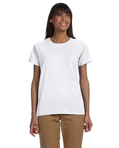 Gildan Ladies Ultra Cotton 100% Cotton T-Shirt, White, XS
