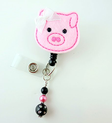 Cute Pig - Nurse Badge Reel - Retractable ID Badge Holder - Nurse Badge - Badge Clip - Badge Reels - Pediatric - RN - Name Badge Holder
