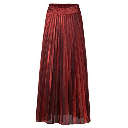 ZKOOO Taille Haute Jupe Femmes Fluide Longue Jupes de Plage t Plisse Vintage Maxi Skirts Mode Rouge
