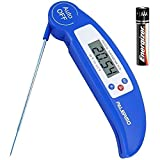 Instant Read Digital Meat Thermometer - Ultra Fast Electronic BBQ and Kitchen Food Thermometer with long probe for Cooking, Grill, Smoker, Candy - Battery Included