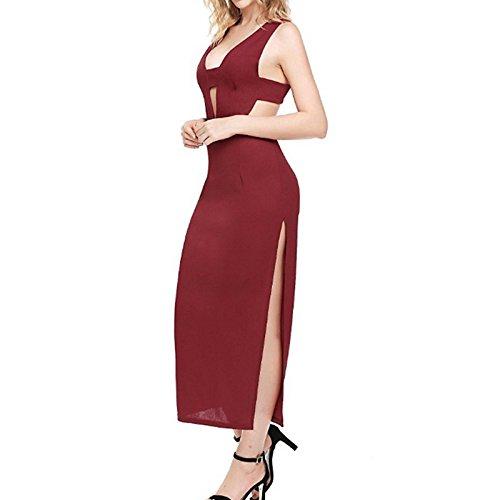 Mujer Vestidos rojo Slim XINGMU Solid Vestido Largo Dividido Sin Mangas De Vino Camiseta WF46qY