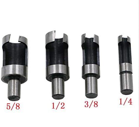 kebyy Carbon Steel Wood Plug Cutter,Cutting Power Drill Bit Set Craft Tool 4Pcs