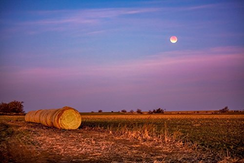Including Bale - Super Blue Blood Moon Photography Print - Picture of Moon Over Hay Bales in Oklahoma Field Farming Home Decor 5x7 to 30x45