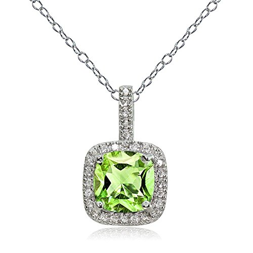 Sterling Silver Peridot & White Topaz Cushion-Cut Necklace