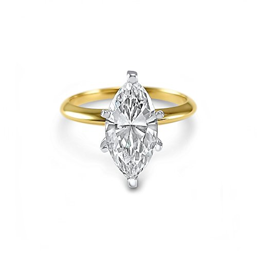 Eternal Jewelry 14K Yellow Gold CZ Cubic Zirconia Marquise 3 Carat solitaire Engagement Ring 6 Prong (4.0) (4.0)