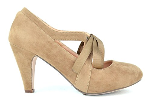 Suede Vintage Pumps (Chase & Chloe Kimmy-62 Women's Vintage Bow Mary Jane High Heel Pump (8.5, Taupe))