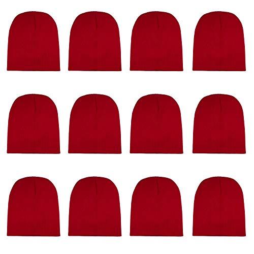 Gelante Knit Skull Cap Warm Winter Slouchy Beanies Hat 9 Inch Long 2040D-Red-12PC - Long Beanie Cap