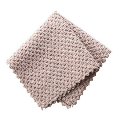 Almond Flannel Kitchen Oil-Free rag Household Cleaning Table Dish Cloth Household Cleaning Clean Absorbent Towel (Grey)