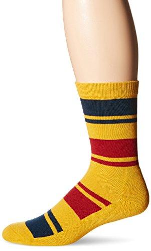 Pendleton National Park Cotton Crew Socks, Yellowstone Stripe - Marigold, Large (Fits Men's Shoe Size 9-12/ Women's Shoe Size - Stripe Marigold
