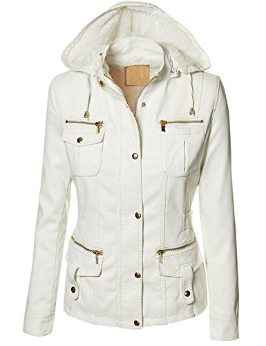 LL WJC790 Womens Faux Fur Lined Vegan Leather Parka XS WHITE