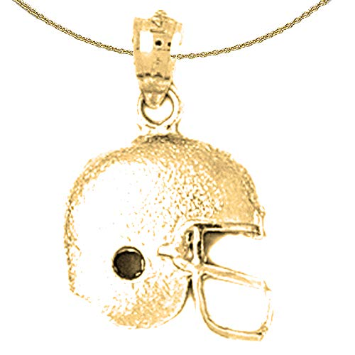 Jewels Obsession Solid 14K Yellow Gold Football Helmet Pendant with 18
