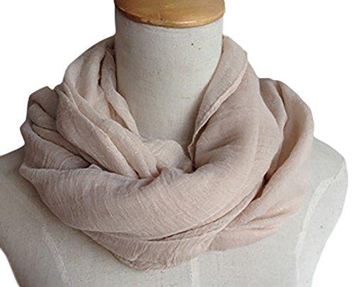 Cotton Metallic Scarf - Spikerking Pure color cotton Hemp Silk scarf travel sunscreen scarf long Big scarves,Beige