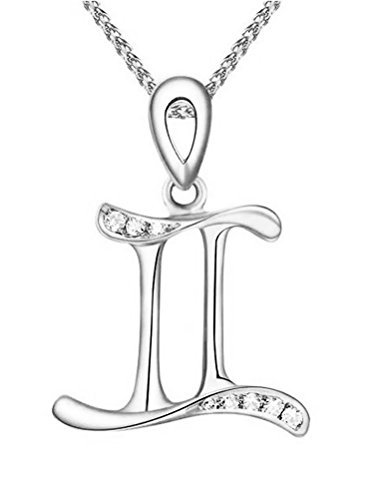 Paialco 925 Sterling Silver Birthday Zodiac Charm Pendant Necklace Rhodium Plated Gemini