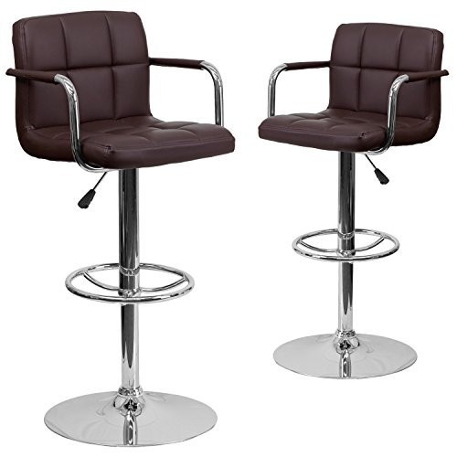 Flash Furniture 2 Pk. Contemporary Brown Quilted Vinyl Adjustable Height Barstool with Arms and Chrome Base
