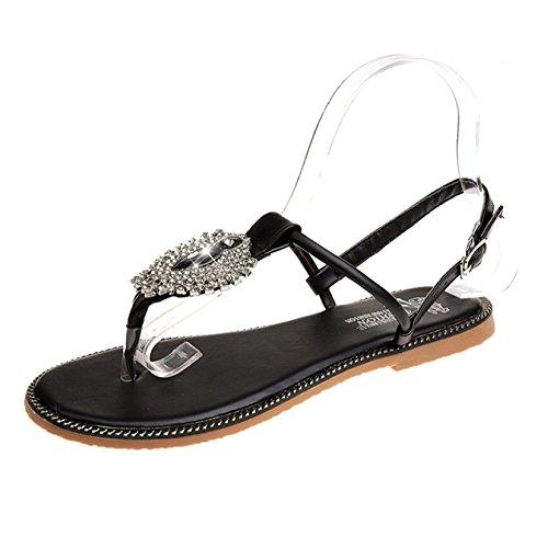 pour Sport Plage T Bar Bohème Vacances Tongs De Marche Black Plates Hope La Toe Strass De pour Style Sandales Chaussures Chaussures Femmes ZwqAgvEx