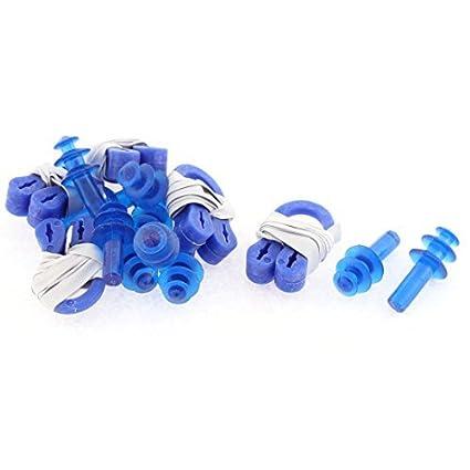 eDealMax Piscina Proteja silicona nariz de plástico Tapones Para Los oídos Clip 5 el Azul fija