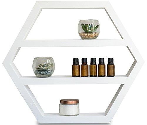 Essential Oil Shelf - Hexagon Storage Display for Modern Farmhouse (Essential Large Vase Candle)