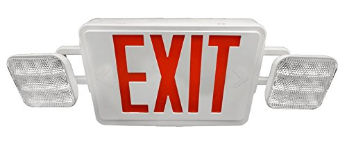 NICOR Lighting LED Emergency Exit Sign with Dual Adjustable LED Heads, White with Red Lettering ()
