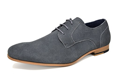 Bruno Marc Men's Constiano-1 Grey Suede Leather Oxfords Shoes - 11 M US