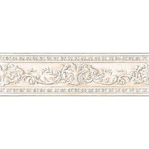 York Wallcoverings Border Book Arch Fan Border, Off White/Cream