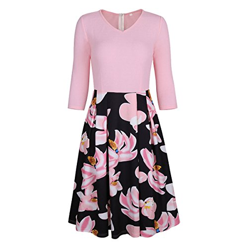 Fantastic Zone Women's Vintage Floral Elegant Patchwork Puffy Swing Casual Party Dress With Pockets