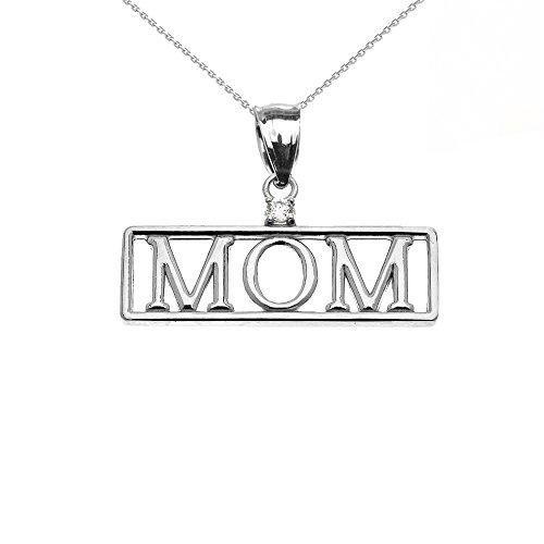 """Collier Femme Pendentif 14 Ct Or Blanc """"Mom"""" Diamant (Livré avec une 45cm Chaîne)"""