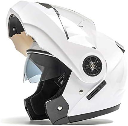 NJ ヘルメット- ヘルメットの男性と女性の四季普遍的な防曇透明二重レンズ多色 (Color : White, Size : 54-59cm)