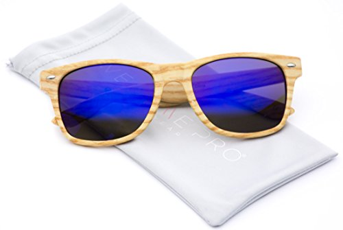 33dd1183f4c06 Faux Wood Reflective Revo Color Lens Horn Rimmed Sunglasses (Light Wood  Frame   Flashing Blue