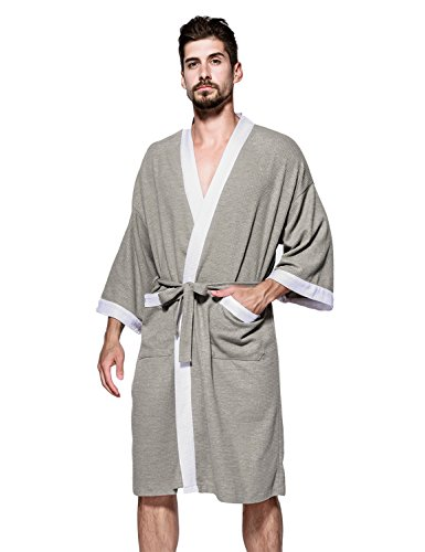 5e2d0028d5 Jearey Men s Kimono Robe Cotton Waffle Spa Bathrobe Lightweight Soft Knee  Length Sleepwear with Pockets (