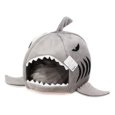 KOJIMA Cute Color Shark Round House Puppy Bed with Pet Bed Mat Small to Medium