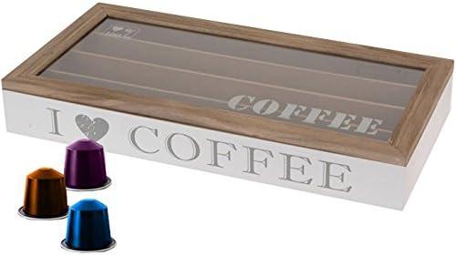 Caja para 40 cápsulas de Café estilo Nespresso madera, ventana de ...