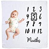 #10: Baby Monthly Milestone Blanket | Muslin Cotton Swaddle & Throw for Infant & Babies 0-3 Months, 3-6, 6-9, 9-12 | Photography Backdrop Photo Prop for Newborn Boy & Girl - New Mom Baby Shower Gift