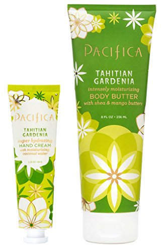 Pacifica Tahitian Gardenia Super Hydrating Hand Cream and Tahitian Gardenia Body Butter Bundle with Sweet Almond Oil, Jojoba Seed Oil, and Sweet Iris Leaf Cell Extract, 2.25 fl. oz. and 8 fl. oz. each