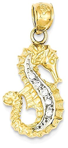 Diamond Seahorse Charm (ICE CARATS 14k Yellow Gold Diamond Seahorse Pendant Charm Necklace Sea Life Fine Jewelry Gift Set For Women Heart)