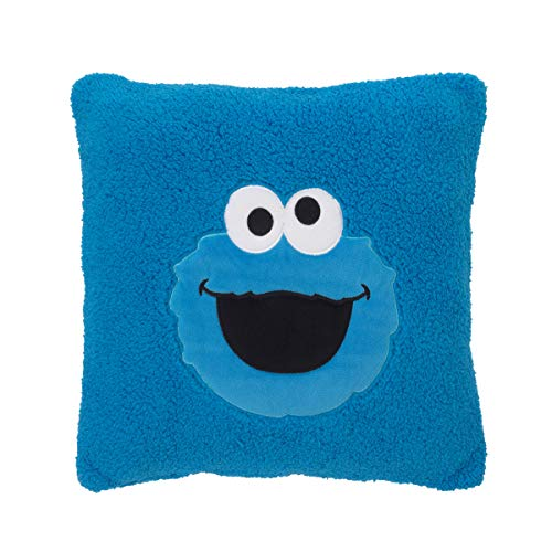 (Sesame Street Cookie Monster Blue Super Soft Sherpa Toddler Pillow with Applique, Blue/White/Black)