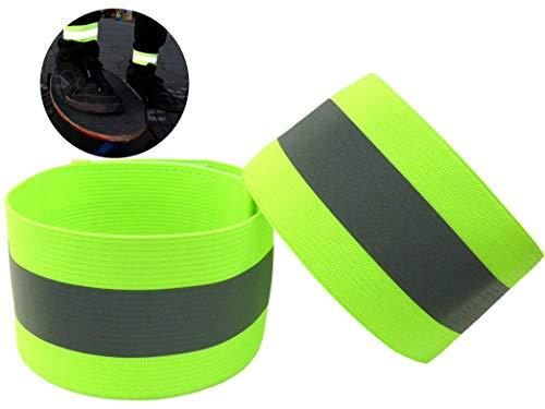 Ongear Premium Reflektorband mit erhöhter Sichtbarkeit | Klettverschluss Elastisch für Erwachsene Kinder Joggen Fahrrad Reiten Hosenklammer Outdoor Leuchtband Knöchel | Reflexfolie Neon-Gelb