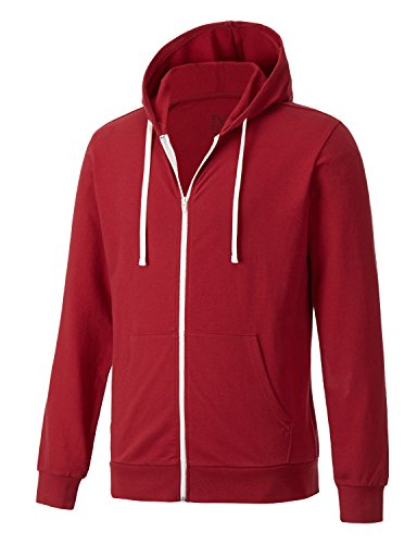 Regna X Mens Color Block Crewneck Long Sleeve Zip Hoodie Red - Block Zip Hoodie