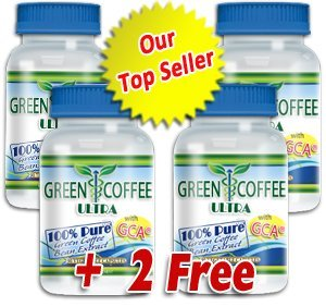 Green Coffee Ultra: 100% PURE Green Coffee Bean Extract with GCA (4 bottles)