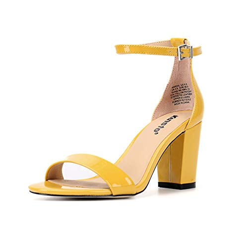 Kunsto Women's Ankle Strap Block Heeled Dress Sandals Yellow Patent US Size -